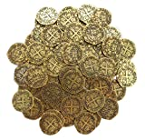 64 Metal Pirate Gold Coins Treasure Large 25mm Replica Doubloon Toys for Kids Pirate Party Game Decoration Token Supplies by Well Pack Box