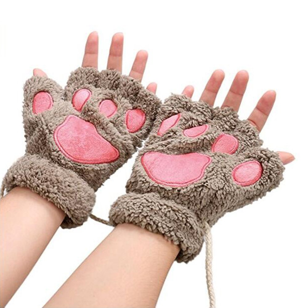 Women Cat Claw Mittens Bear Plush Paw Winter Gloves