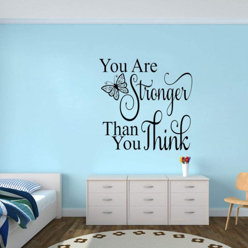 HUAIyinSTOAM 56CM55CM You are Stronger Than You Think Inspirational Quote Decal PVC Wall Sticker Decor