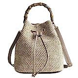 YSMYWM Women Straw Braid Handbag Tote Summer Holiday Woven Shoulder Bag Crossbody Bag with Bamboo Handle (Khaki)