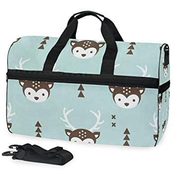 Image Unavailable. Image not available for. Color  Gym Bag Cartoon Deer  Head Sport Travel Duffel Bag with Shoes Compartment Large Capacity ... 294590e68ad83