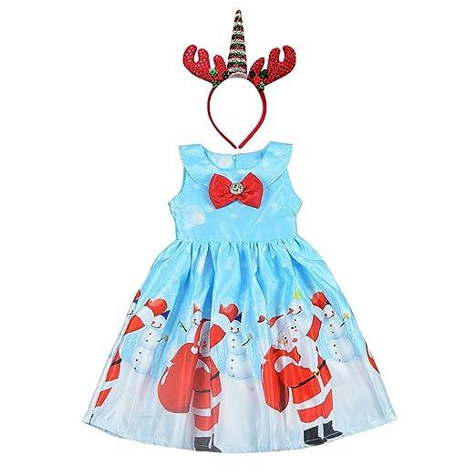 fce995c0230b3 Amazon.com: Girls Christmas Dress + Reindeer Unicorn Headband Santa ...