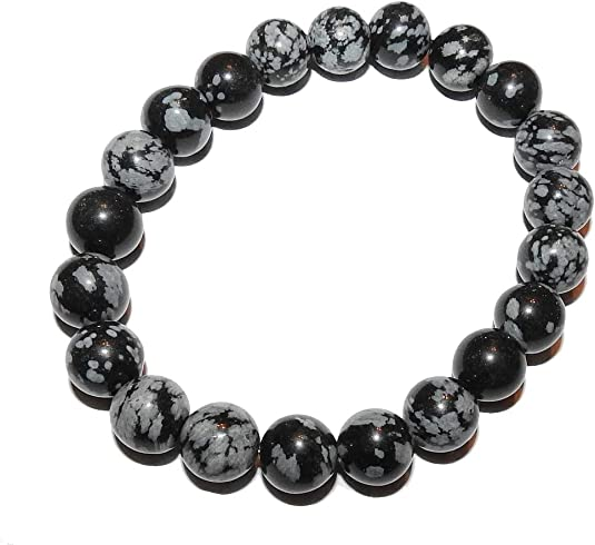 B-7 Natural Snowflake Obsidian Bracelet; Obsidian Bangle Bracelet,Silver Bangle Cuff Bracelet,Black and White Snowflake Obsidian bengle