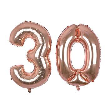 Globo gigante de oro rosa con número 30, 40 Mylar Foil Numero Globos de helio para 30 cumpleaños decoraciones suministros – helio flotante