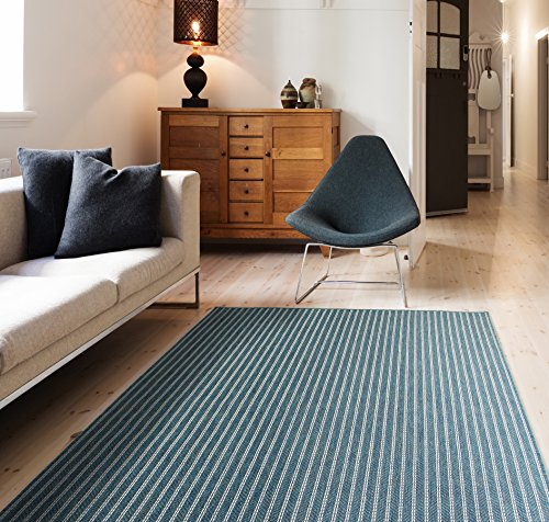 HOMEGNOME Indoor Outdoor Striped Rug 8'x10' Ocean Blue Neutral
