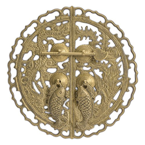 - CBH Brass Fish & Dragon Cabinet Face Plate Backplate Hardware Set 9