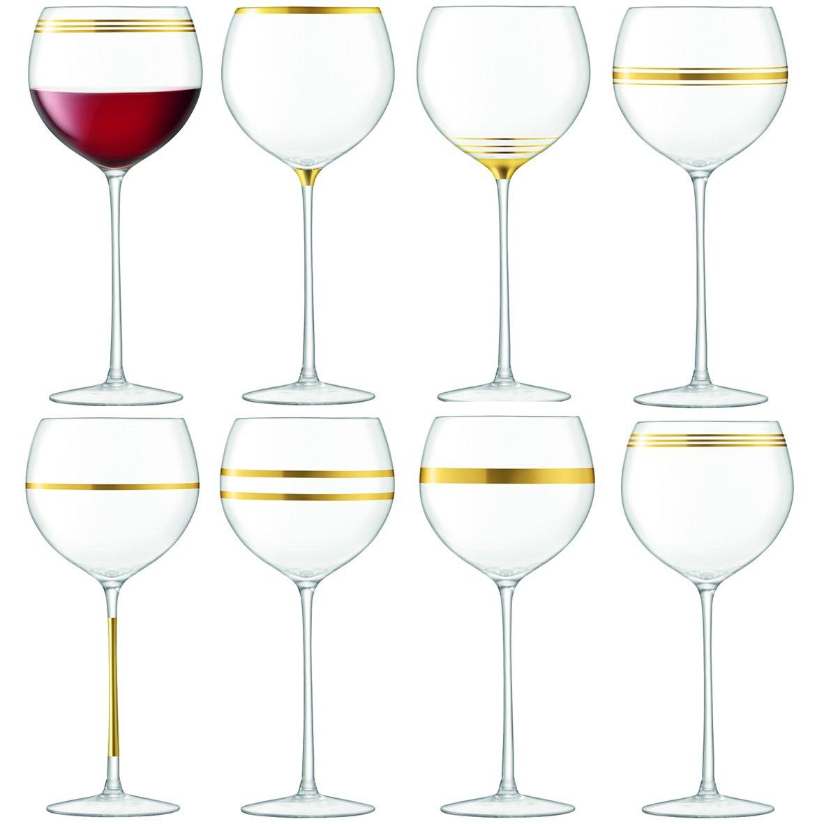 LSA International Deco 17.75 fl. Oz. 9'' Gold Wine Goblet (Set of 8), Assorted