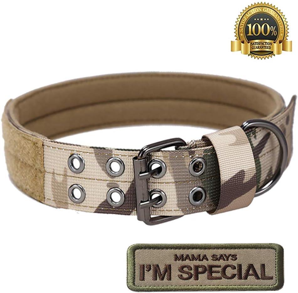 S.Lux Tactical Nylon Hundehalsband Military Einstellbare Hundehalsband mit Metallschnalle Training Halsband Haustier Hundehalsband Klettpatches Angebracht Werden