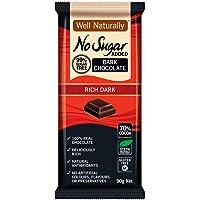 WELL NATURALLY No Sugar Added Rich Dark Chocolate, Brown, 90 g