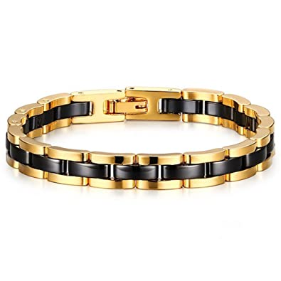 541a376c8789 Image Unavailable. Image not available for. Color  Mens Womens Fashion  Tungsten Carbide 18k Gold Plated Black Ceramic ...