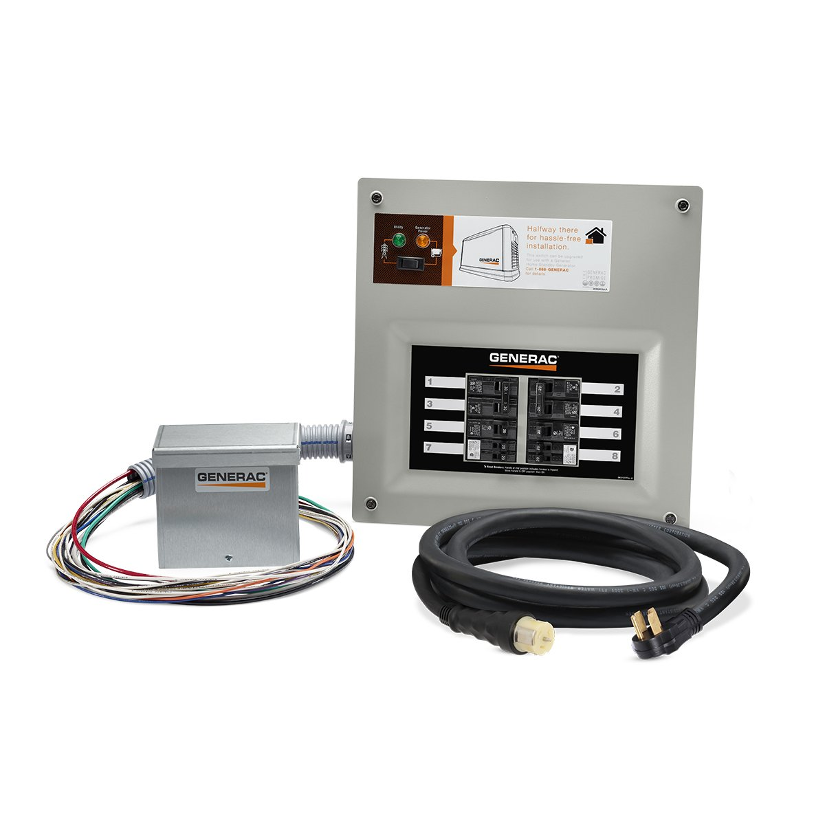 Generac 9855 HomeLink 50-Amp Indoor Pre-wired Upgradeable Manual Transfer Switch Kit for 10-16 circuits - Includes Power Inlet Box and 10-ft Cord by Generac
