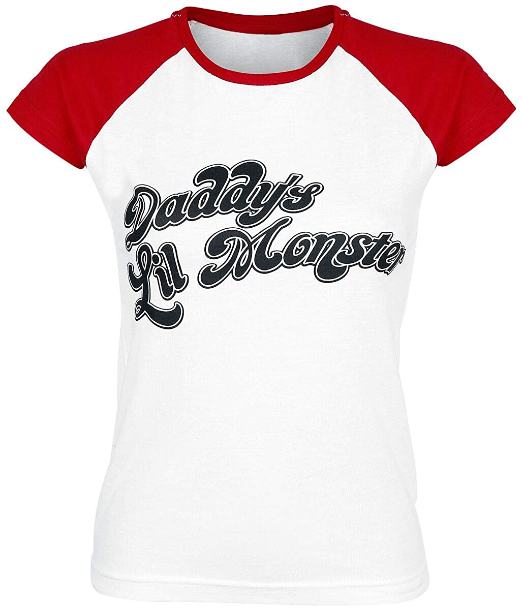 TALLA XL. Suicide Squad Officially Licensed Merchandise Daddy´s Lil Monster Baseball Girly tee