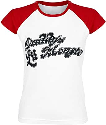 Official Womens Harley Quinn Daddy's Lil Monster Baseball Cosplay Fitted T-Shirt