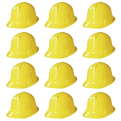 Novelty Place Construction Party Hats - Dress Up Soft Hats for Kids and Adults (Pack of 12) Yellow: Toys & Games
