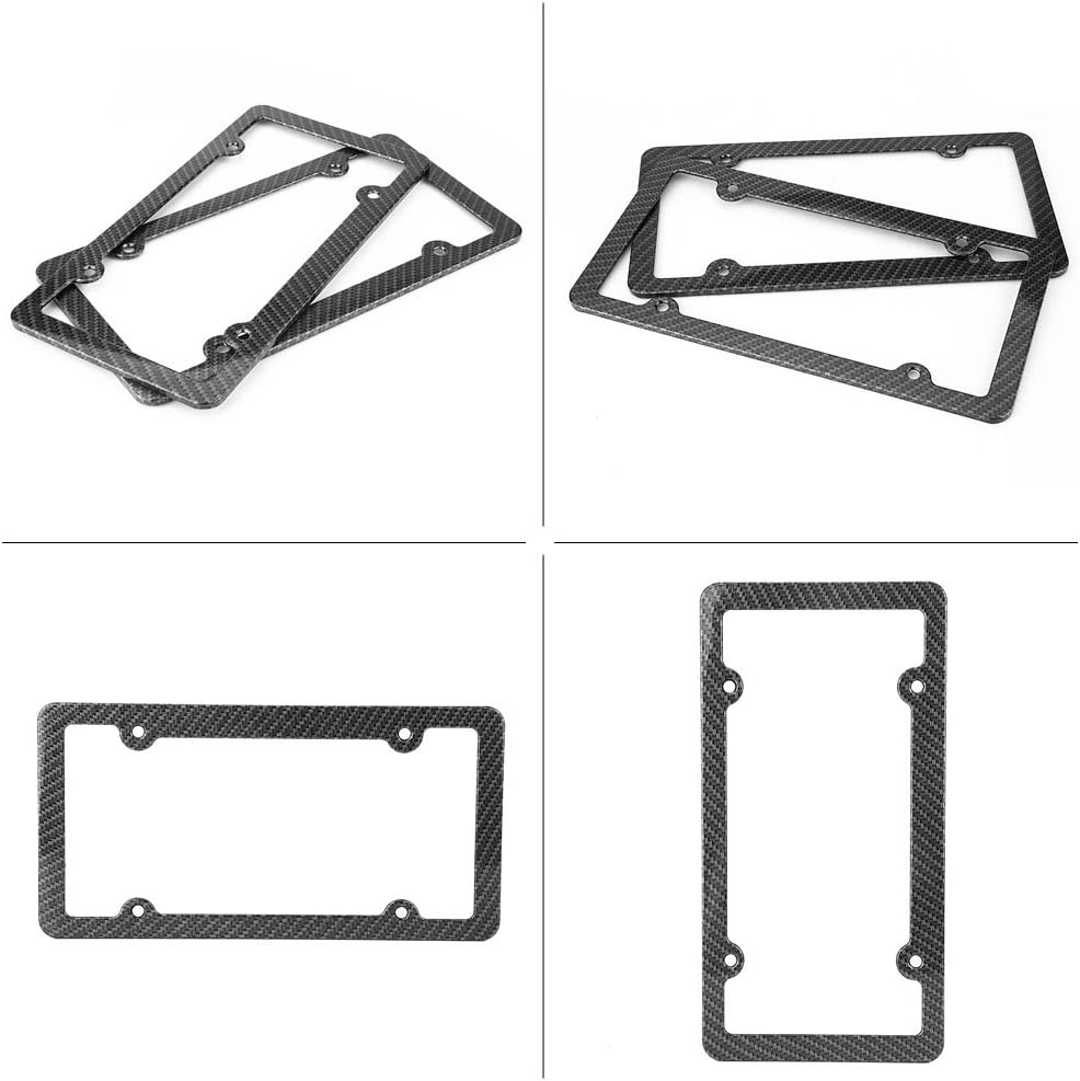 Yosoo 2pcs Carbon Fiber License Number Plate Frame Cover with Screw