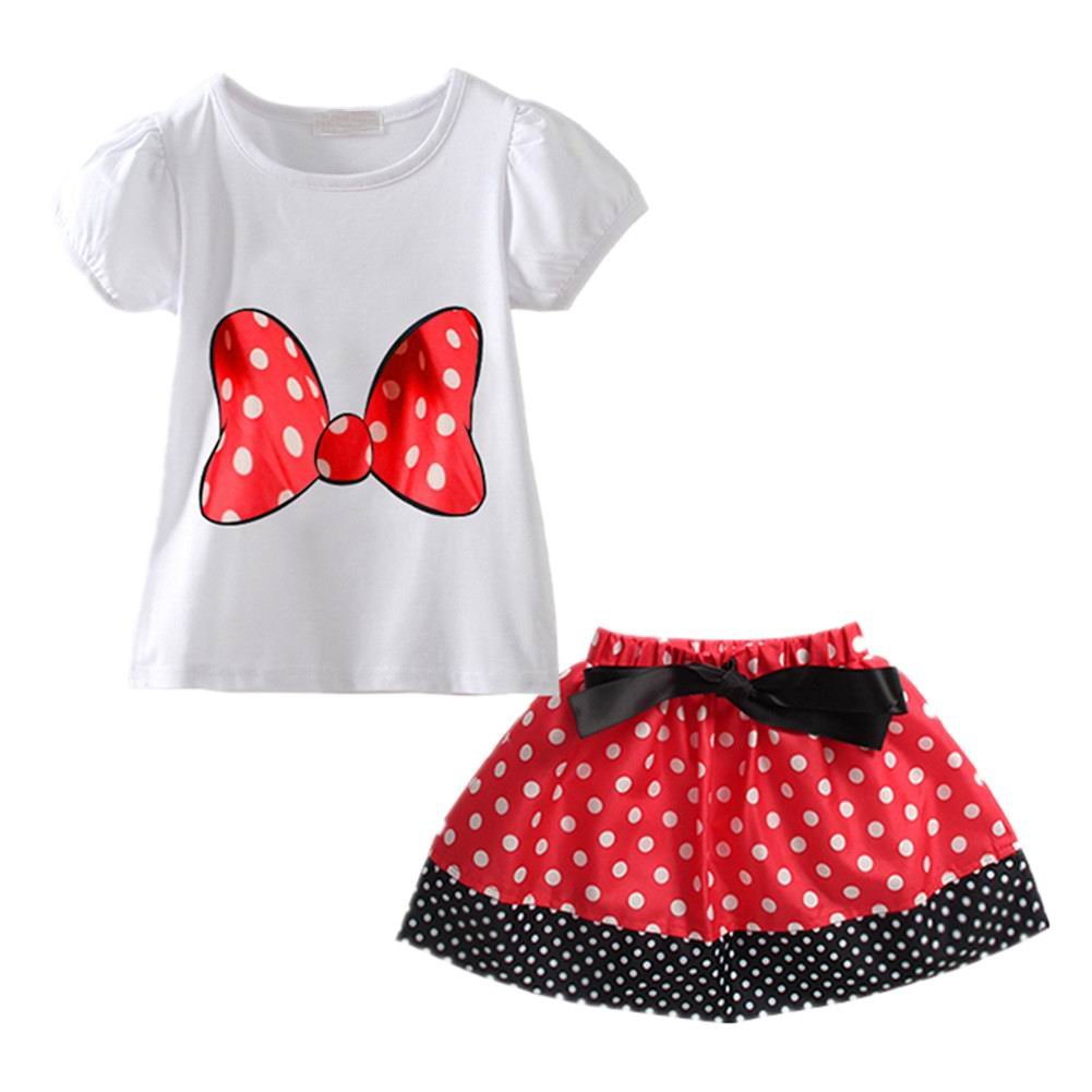 LittleSpring Little Girls Skirt Set Bow Dot