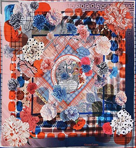 Christian Lacroix - Carré en soie Bataille de fleurs bleu