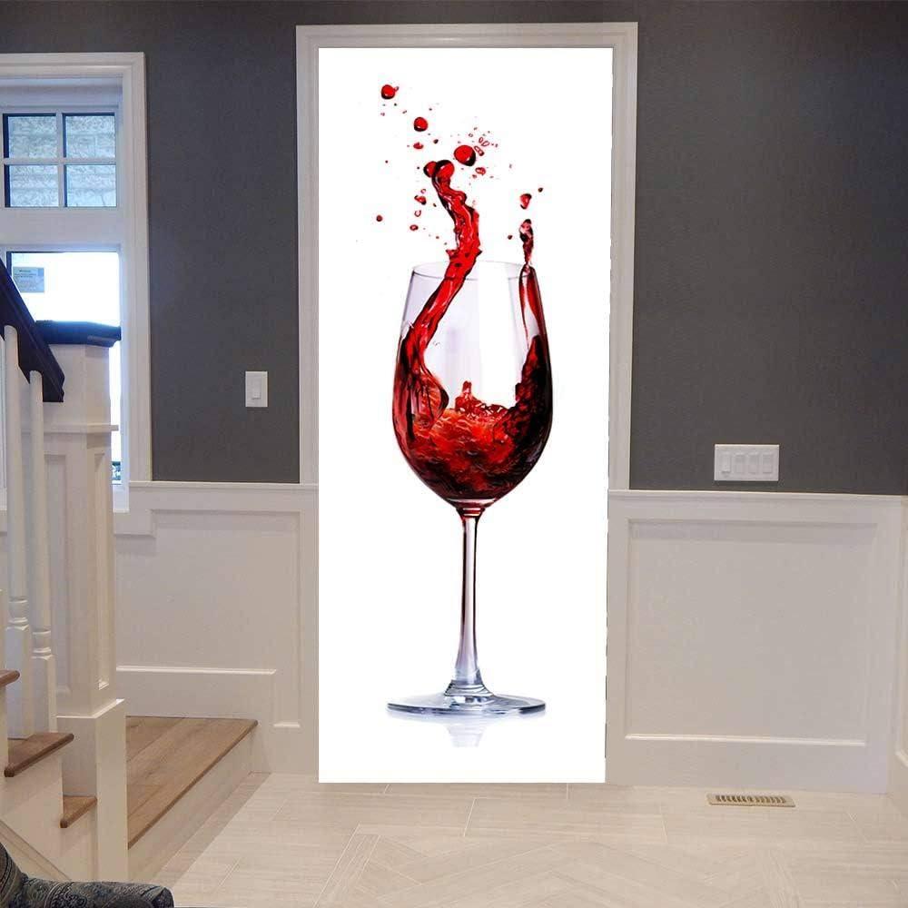 Adesivo per Porta 3D Calice Adesivo Murale Decorazione Familiare Adesivo Camera da Letto Bagno Rimovibile Poster Adesivi per Porte-77x200cm