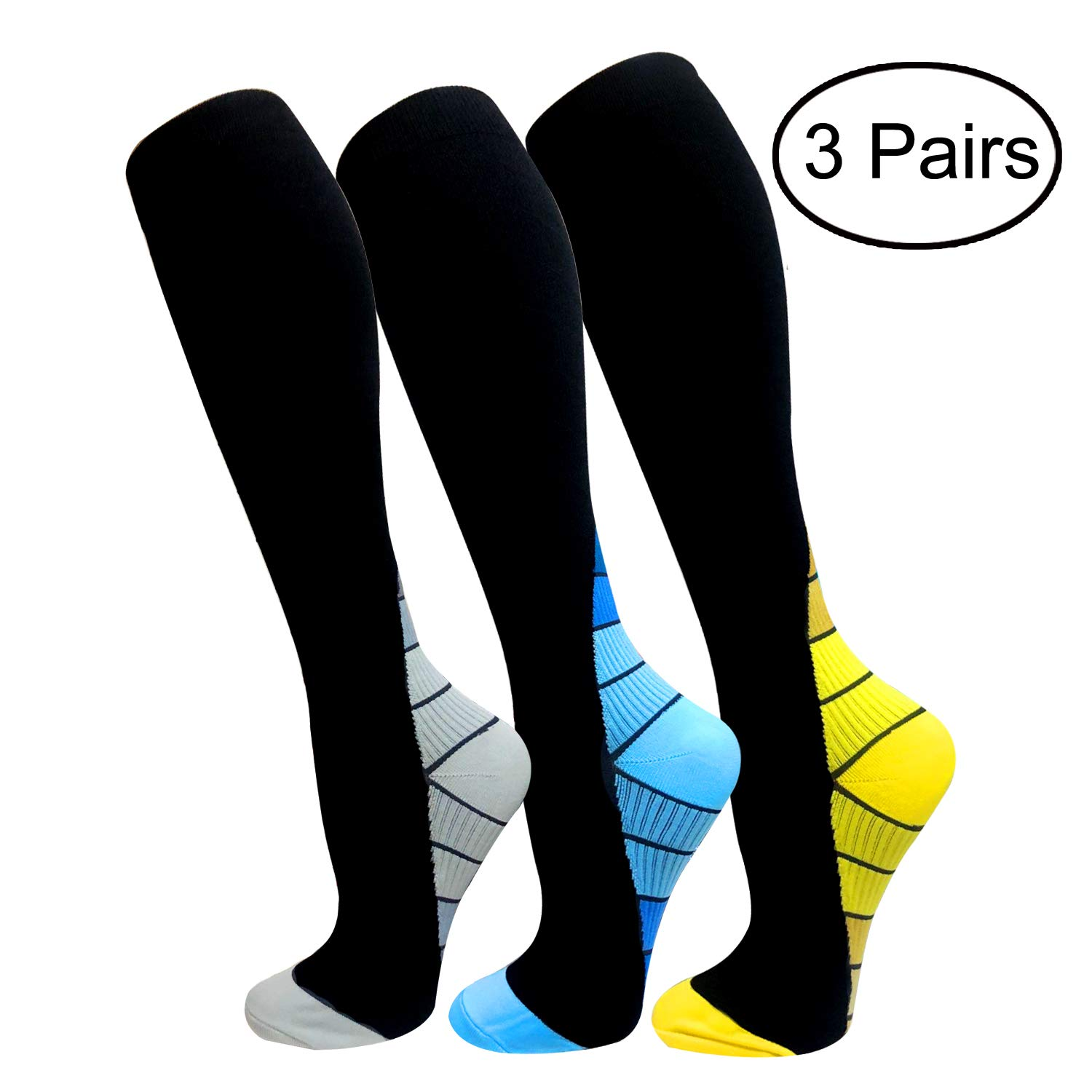 Copper Compression Socks For Men & Women(3 Pairs)- Best For Running,Athletic,Medical,Pregnancy and Travel -15-20mmHg (S/M, Multicoloured 19)