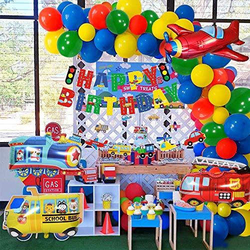 Fire Truck Latex Balloon Vehicle Foil Balloon Kids Happy Birthday Party Decor
