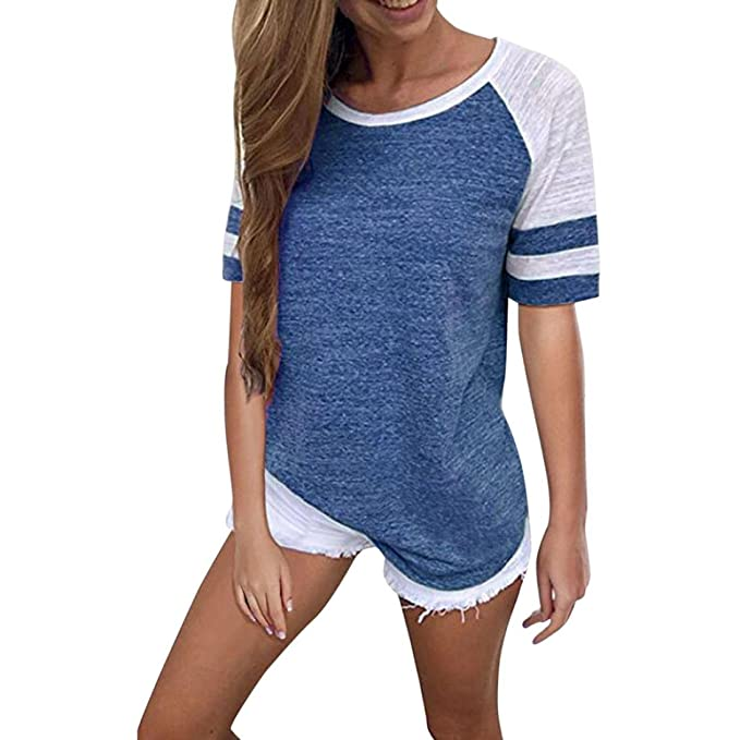 VENMO Blusen Mode Frauen Kurzarm Splice Bluse Tops Kleidung T-Shirt Tuniken  Chiffon Elegant Sexy 7f0a3fb589