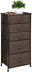 mDesign Vertical Dresser Storage Tower - Sturdy Steel Frame, Wood Top, Easy Pull Fabric Bins - Organizer Unit for Bedroom, Hallway, Entryway, Closets - Textured Print - 5 Drawers - Espresso Brown