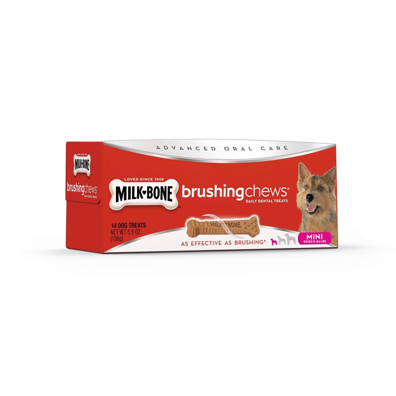 (Daily Dental Treats, Mini Breed (14 Bones)) Milk-Bone Brushing Chews Daily Dental Dog Treats