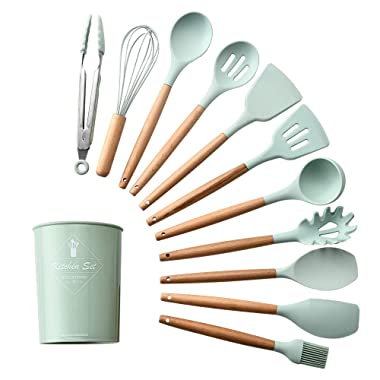 Silicone Cooking Kitchen Utensils Set,Bamboo Wooden Handles Kitchen Gadgets for Nonstick Cookware(Green-12 PCS)