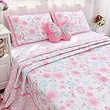Brandream Pink Butterfly Floral Bedding Set Romantic Girls Quilt Set Queen Size