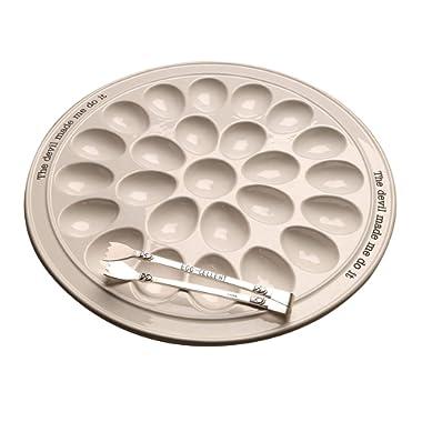 Mud Pie 40700094 Circa Round Plate Set Deviled Egg Tray, 14.25  diameter, white