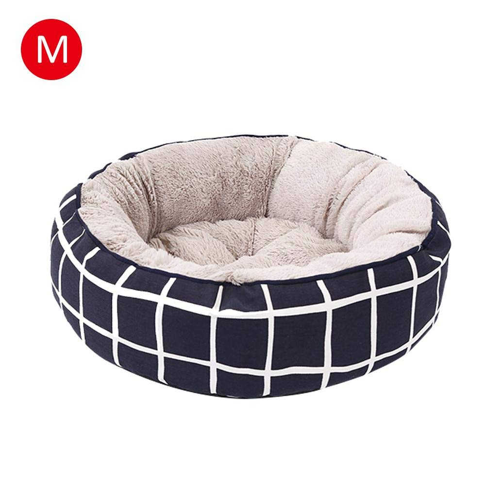 M Awhao Pet Supplies Round Dog Kennel Checkered Striped PP Cotton Cat Bed for Autumn and Winter