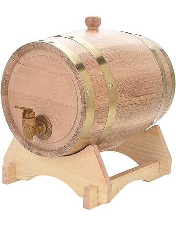 EBTOOLS de Barril de Vino de Madera de Roble con Soporte Recipiente para Vino Barril de