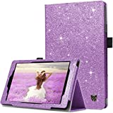 BENTOBEN Case for Fire HD 8 2017 Version -Bling Sparkly Folio Folding Stand Cover with Stylus Holder & Auto Wake/Sleep Luxury Glitter Shiny Smart Case for Fire HD 8 (2017 Release) , Purple