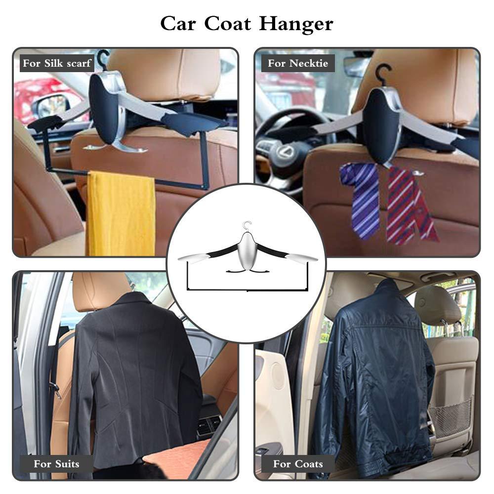 JOYART Universal Car Back Seat Headrest Coat Hanger High-End Multi-Purpose Auto Hook Car Coat Holder for Purse Handbag Shopping Bag Cloth Interior Car Accessories-Black