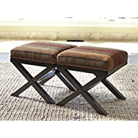 Fiera Brick Color Accent Ottoman , Set of 2