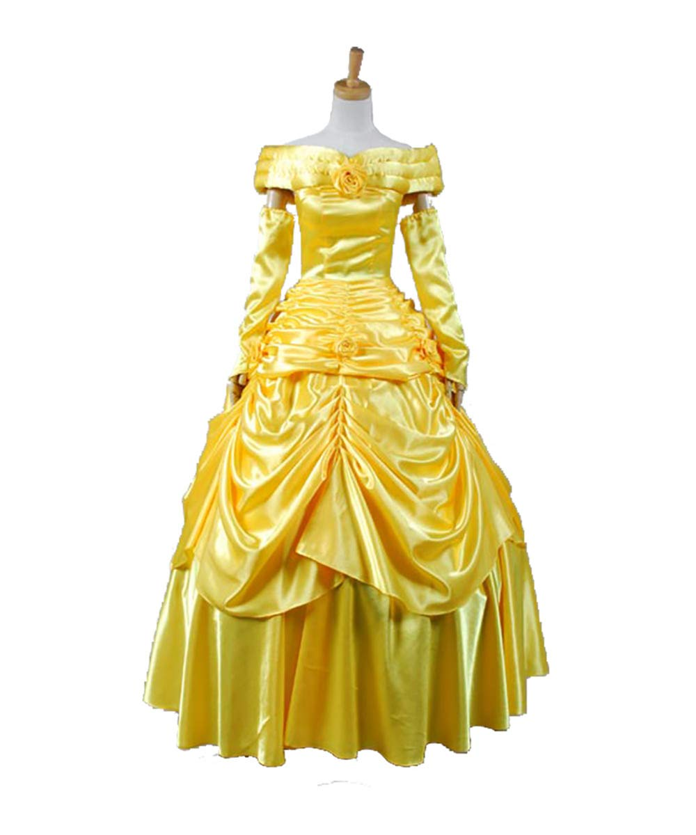Gelb S MingoTor Die Schöne Princess Belle Evening Gown Dress Cosplay Kostüm Damen S
