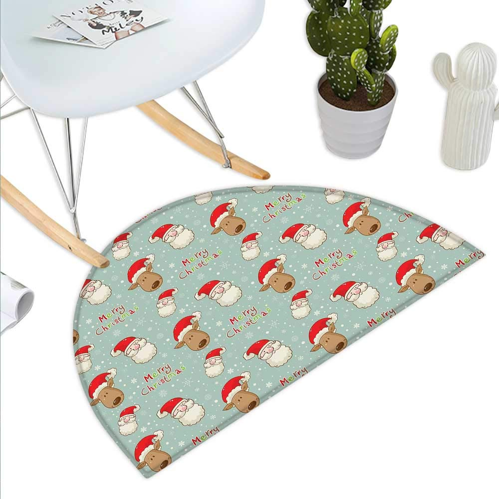 color05 H 19.7  xD 31.5  Christmas Semicircle Doormat Santa in Sleigh with Reindeer and Toys in Snowy North Pole Tale Fantasy Image Halfmoon doormats H 27.5  xD 41.3  Navy bluee