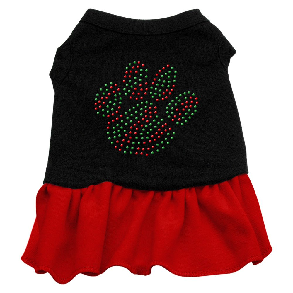 Mirage Pet Products Christmas Paw Rhinestone 8-Inch Pet Dress, X-Small, Black with Red