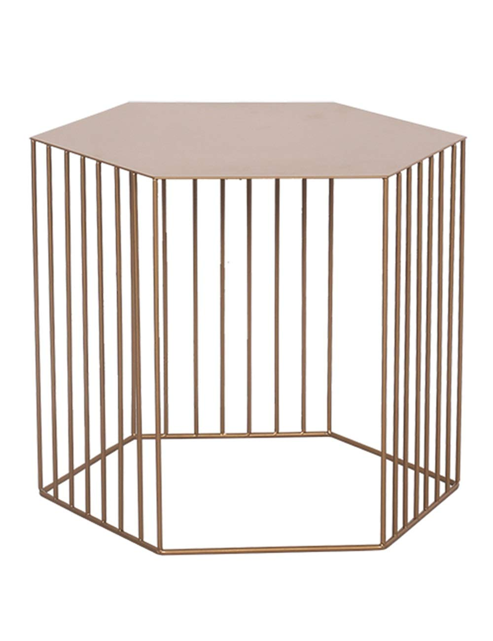 gold Iron Coffee Table Creative Table Geometric Corner, Simple Modern Sofa Side Shelves, Creative Small Apartment Living Room, gold, Black (45×45×38cm)