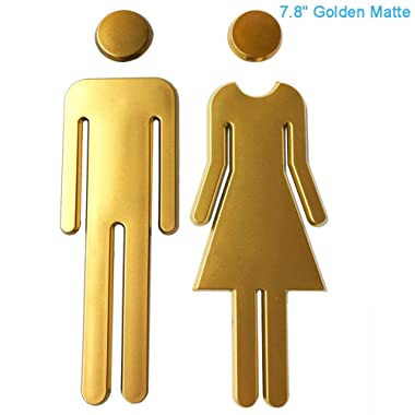 RJWKAZ Premium Funny Bathrooms Signs Acrylic Adhesive Backed Unisex Bathroom Sign 7.8 (Golden Matte)