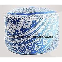 Bohemian Pouf Ottoman pouffe Ombre Mandala Indian Pouf Ottoman Seat Pouffe 24 By Handicraft-Palace