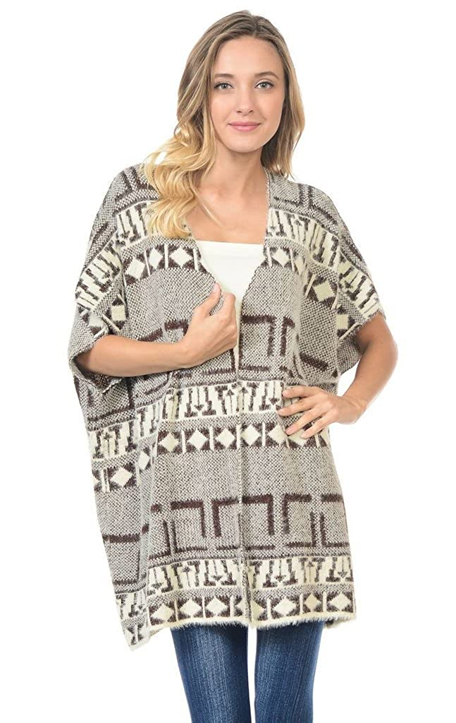 Vest Fuzzy Tribal Brown 1 Zoozie LA Women's Furry Sweaters Cardigan Jacket with Soft Furry Material
