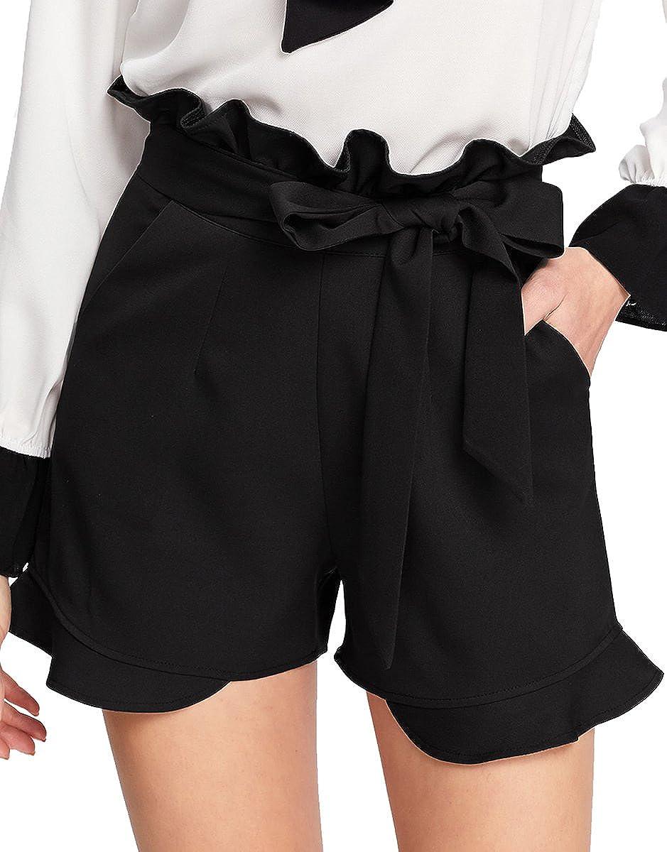 Black 4 Romwe Women's Casual Elastic Waist Summer Shorts Jersey Walking Shorts