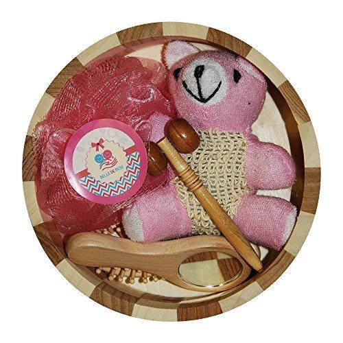 (Baby Bath Set Blue/Pink: Includes Soft Baby Brush (Wood Handle, Goat Hair Bristles), Wooden Massager, Bath Pouf & Teddy Bear Bath Sponge (Pink))