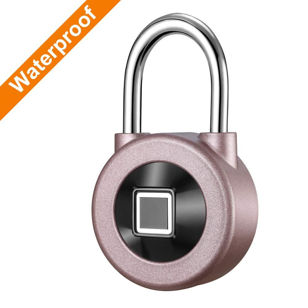 Kacul Fingerprint Padlock,Smart Metal Waterproof iOS/Android APP Smart Remote Control Keyless Luggage Lock for Bag,Door,Backpack,Bike (Rose) (rs001)