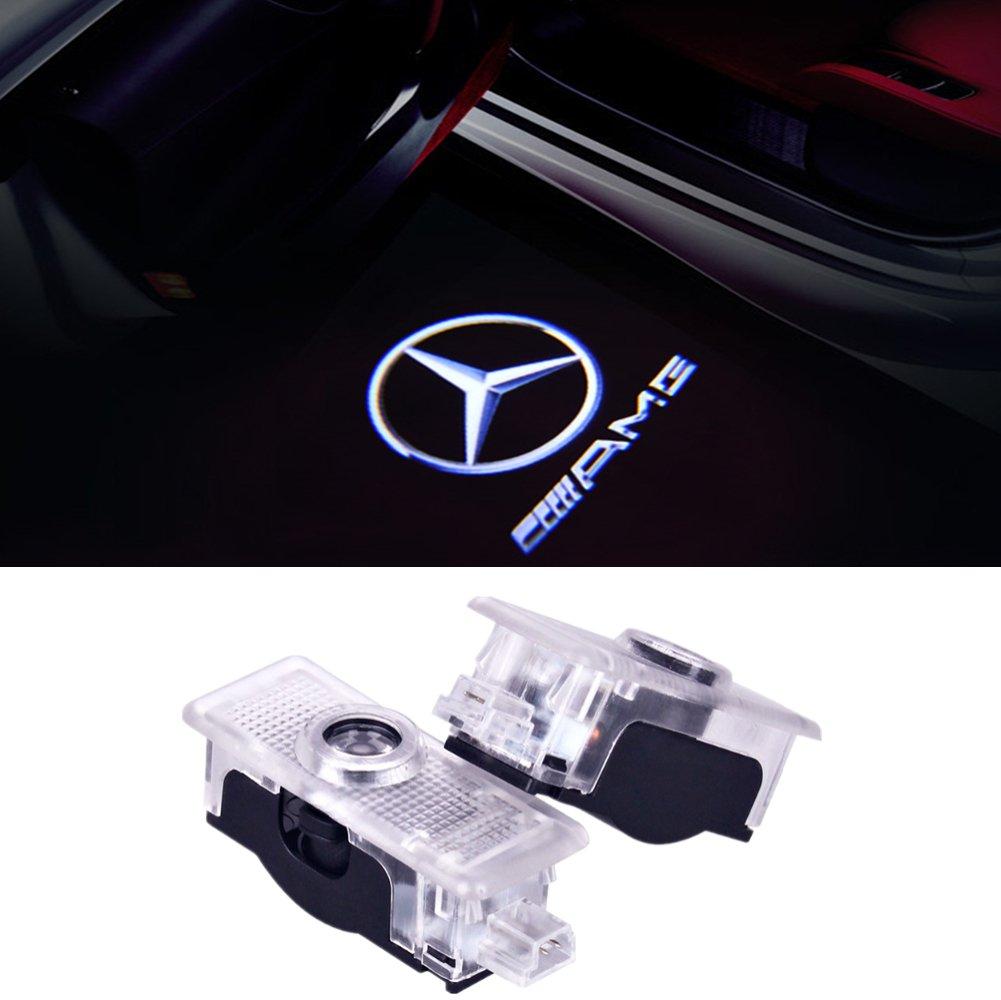 Wangziqi - 2 luci LED per la portiera dell' auto, per proiettare il logo