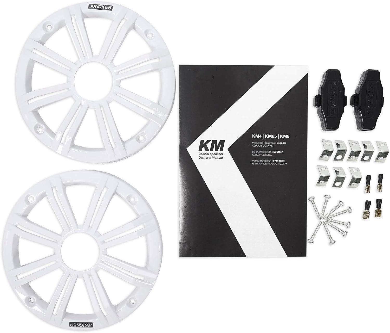 Kicker 6.5 LED Speakers for 2014-18 Polaris RZR 1000//900S//Turbo+Pods+2-Ch Amp.