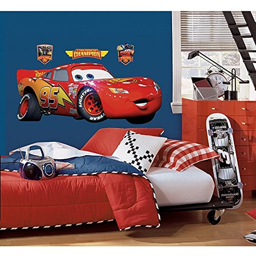 N2 4 Piece Kids Red Yellow Orange Cars Wall Decals Set, Disney Themed Wall Stickers Peel Stick, Lightning Mcqueen Racing Animated Pixar Tires Fast Decorative Mural Art, Vinyl (Decal Set Pixar)