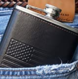 New-Scale-8oz-Black-Slim-Hip-Flask-with-American-Flag-hollow-Design-Gift-Set-Premium-in-Black-Gift-Box