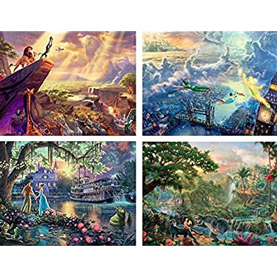 Ceaco Thomas Kinkade The Disney Dreams Collection 4 in 1 Multipack Lion King, Peter Pan, Princess & the Frog, & Jungle Book Jigsaw Puzzles, (4) 500 Pieces: Toys & Games